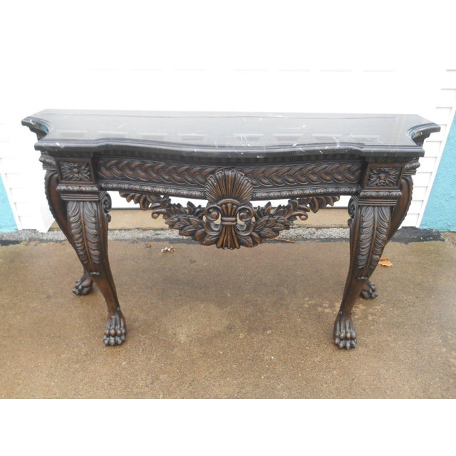 French Rococo Style Carved Wood & Marble Top Console Table - Image 2 of 8