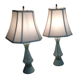 Vintage Murano Art Glass Table Lamps - A Pair