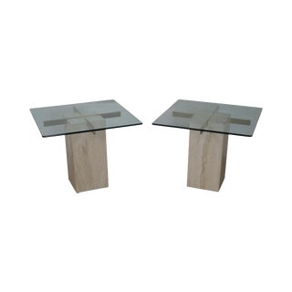 Pace Travertine Square Glass Top Side Tables - A Pair