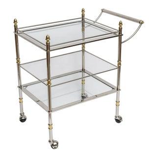 Nickel and Brass Bar/Serving Cart
