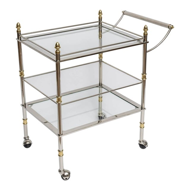 Nickel and Brass Bar/Serving Cart - Image 1 of 5