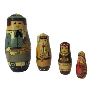 Vintage Thanksgiving Nesting Dolls - Set of 4