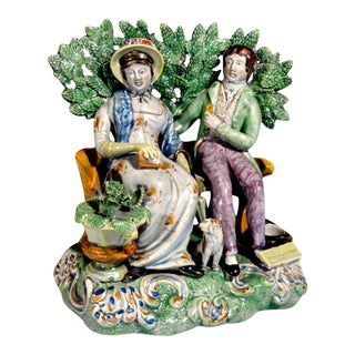 Staffordshire Pottery Figure Group Persuasion by the Patriotic Group Pot Maker.