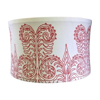 Custom Printed Linen Drum Shade Pendant