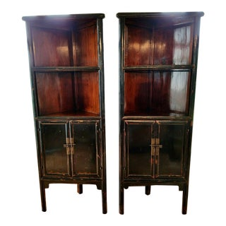 Antique Chinese Black Lacquer Corner Cabinets - A Pair