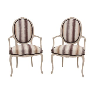 Louis XVI Style Fauteuil Chairs - a Pair