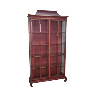 Painted Pagoda Top Beveled Glass Curio Display Cabinet