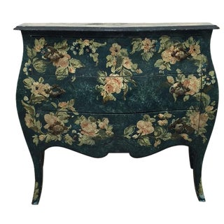 Hand-Painted Floral Green Bombay Chest