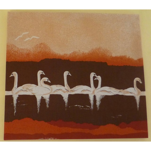Vintage 1970s Fabric Art of Graceful Swans - Image 2 of 7