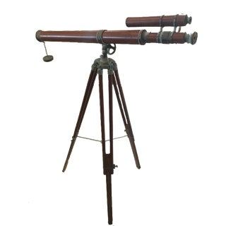 Vintage Folding Copper Floor Telescope