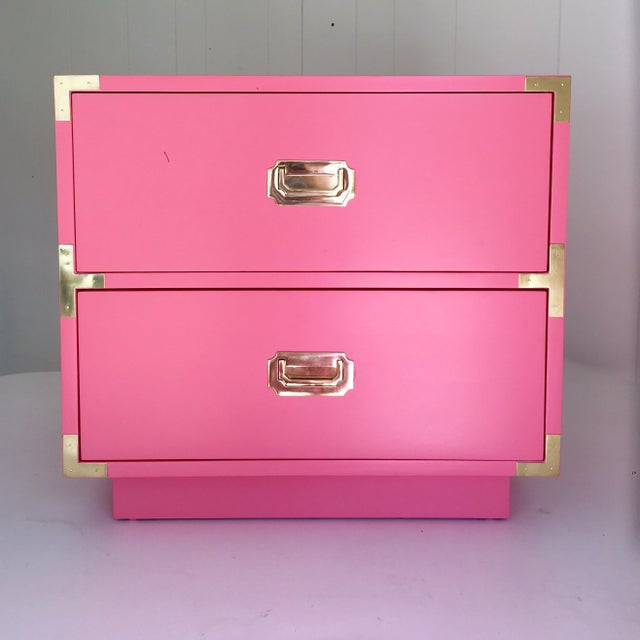 Image of Dixie Vintage Campaign Nightstand in True Pink