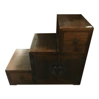 Stair Step Wooden Chest