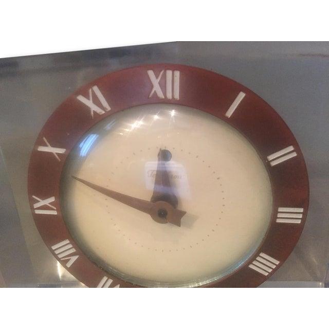 Vintage Lucite & Brass Mantle Desk Clock - Image 3 of 4