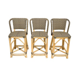 Palecek Patio Terrace French Bistro Bar Stools - Set of 3