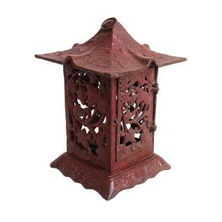 Cast Iron Red Garden Lantern