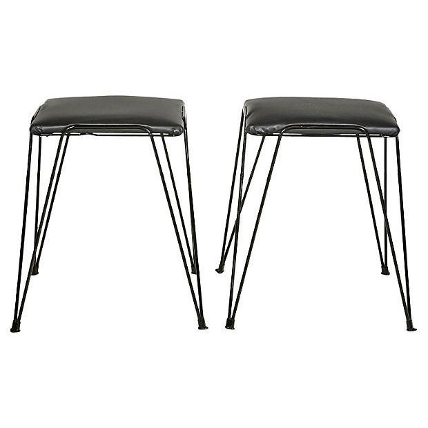 1960s Black Hairpin-Style Stools - Pair - Image 2 of 5