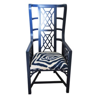 Wooden Fretwork Armchair With Zebra Pattern Seat