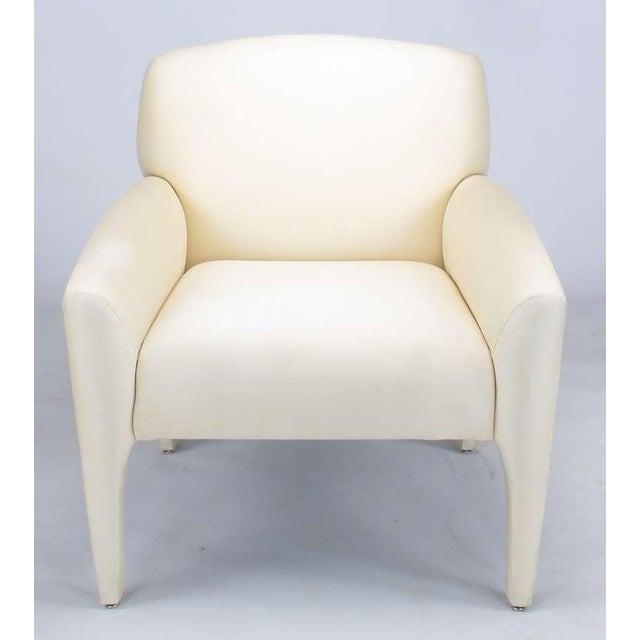 Image of Pair Vladimir Kagan Lounge Chairs In Ivory Silk