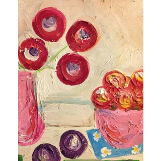 Impasto-Style Flowers Painting