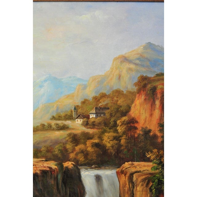 """Image of 19th C. Hudson River School """"Waterfall Landscape"""" Oil Painting"""