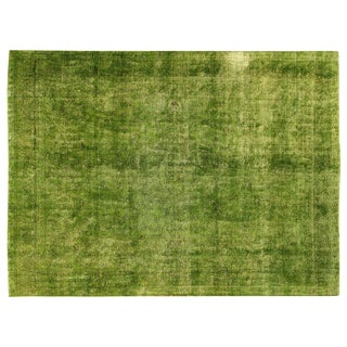 "Bright Green Cast Overdyed Rug - 9'6"" x 12"