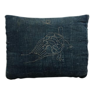 Antique Japanese Indigo Embroidered Tortoise Pillow