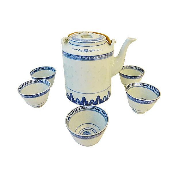 Rice Grain Porcelain Tea Pot & Cups - Set of 6 - Image 7 of 7