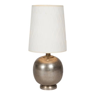 Bulbous Form Nickel Table Lamp, French 1930s
