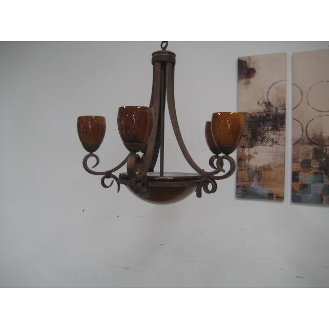 Blown Glass Rustic Chandelier - Image 4 of 8