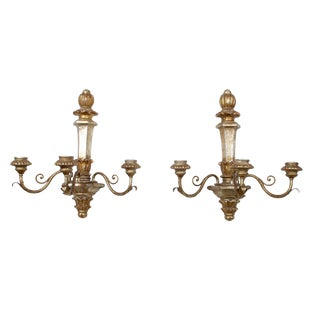 Italian 3 Arm Wall Sconces - Pair