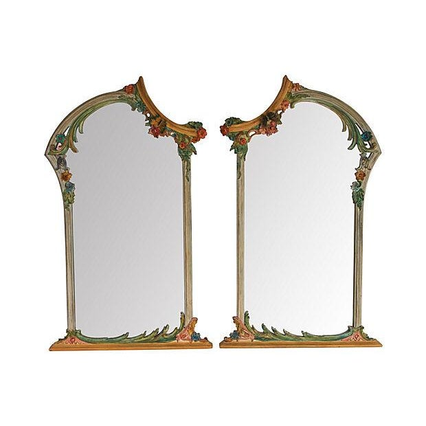Hand-Painted Italian Mirrors - Pair - Image 1 of 9