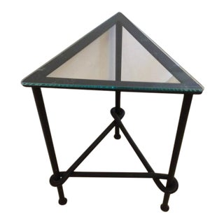 Wrought Iron & Glass Triangular Side Table