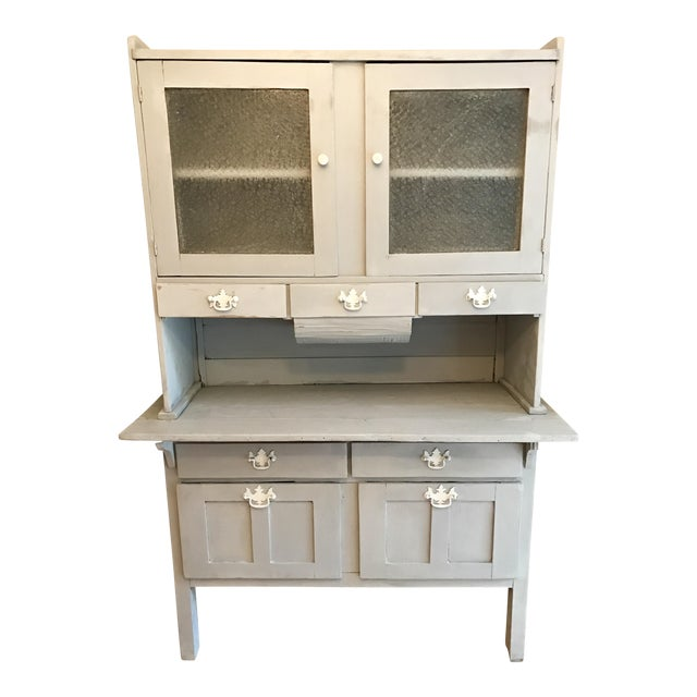 Vintage Gray Painted Hutch - Image 1 of 6