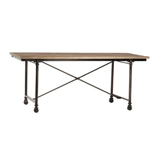 Reclaimed Wood Writing Table on Casters
