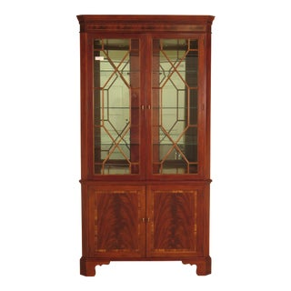 Stickley Flame Mahogany Mirrored Back Lighted Corner Cabinet