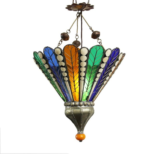 Moroccan Brass & Glass Lantern - Image 2 of 4