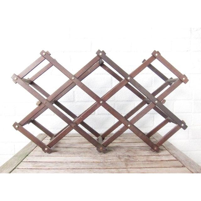 Vintage Wood Accordion Wine Rack Wooden Folding Chairish