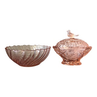 Traditional Pink Depression Glass Bowls - A Pair