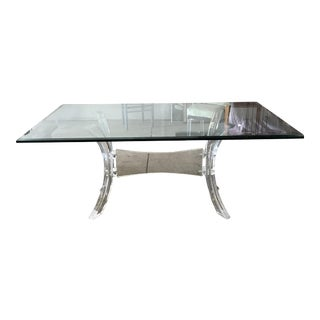Charles Hollis Jones Rectangular Glass & Lucite Dining Table