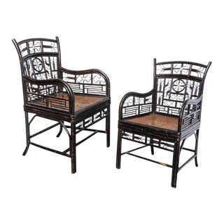 Chinese Chippendale Black Lacquer Caned Seat Armchairs - A Pair
