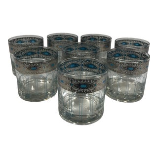 Mid-Century Modern Silver Band Tumblers - Set of 8