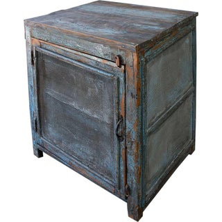 Light Blue Mesh Wood Cabinet