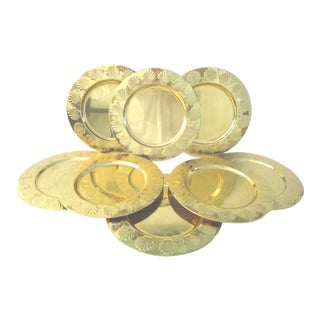 Vintage Polished Brass Clam Shell Plate Chargers - Set of 8