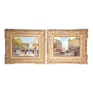 Early 20th Century Parisian Framed Paintings on Canvas - A Pair