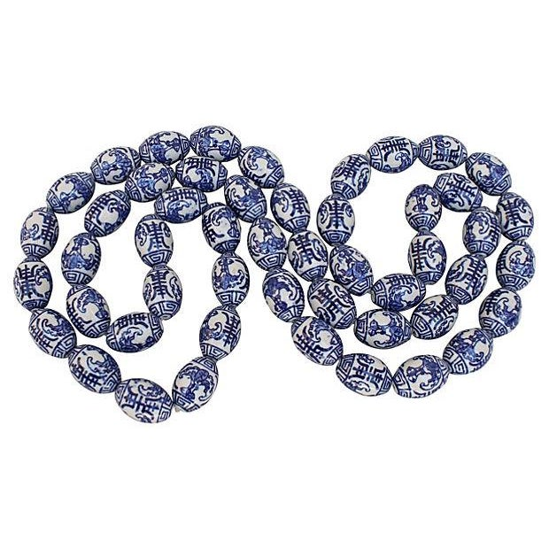 Hand-Painted Blue & White Chinese Porcelain Beads - Image 3 of 3