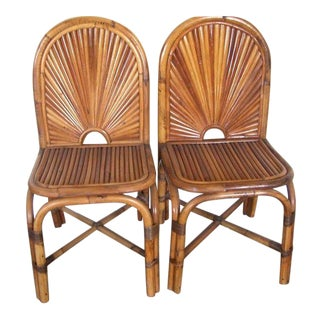 "Eight Gabriella Crespi ""Rising Sun"" Bamboo Dining Chairs"