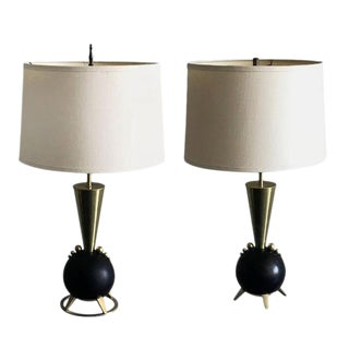 Rembrandt Orb and Brass Table Lamps - A Pair