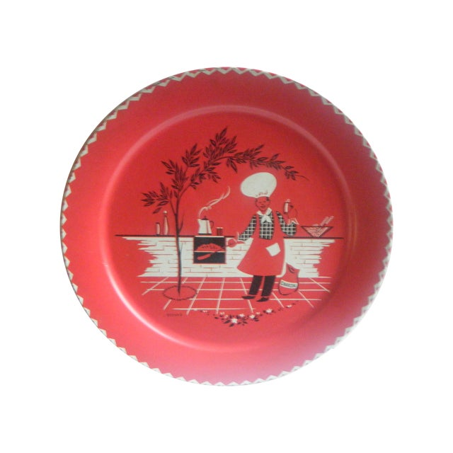 Vintage 1950s Red Metal Barbecue Platter Tray - Image 1 of 6