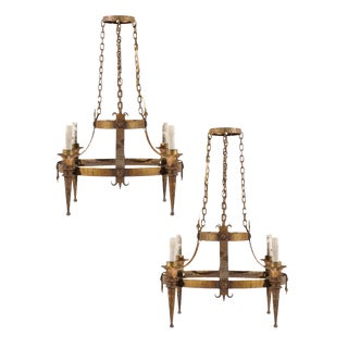 Pair of French Four-Light Gilt Metal Circular Chandeliers