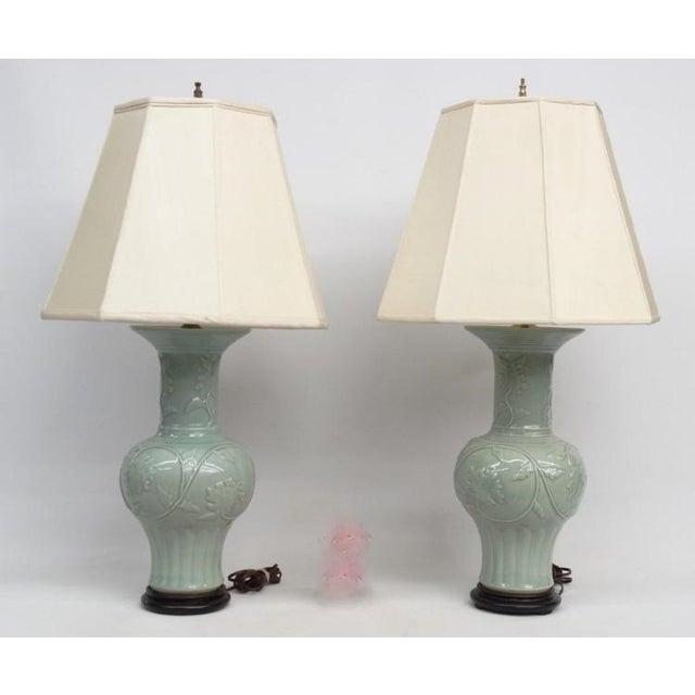 Antique Celadon Porcelain Lamps - Pair - Image 2 of 5
